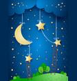 fantasy landscape by night vector image