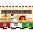 Flat style pizzeria interior vector image