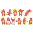 set of cute pink monsters vector image
