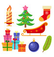 set of flat style colorful christmas icons vector image