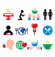 Hunger starvation poverty icons set vector image
