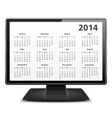 2014 Calendar on the screen of computer monitor vector image vector image
