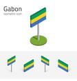 gabon flag set of 3d isometric flat icons vector image