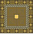 set Traditional vintage golden square Greek orname vector image
