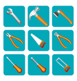 icon set of tools saw hammer screwdriver vector image