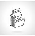 Milk carton black line icon vector image