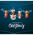 Christmas character Santa Claus snowman reindeer vector image