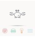 Crab icon Cancer shellfish sign vector image