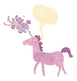 cartoon magical unicorn with speech bubble vector image