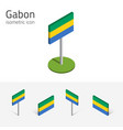 gabon flag set of 3d isometric flat icons vector image