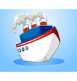 Ocean liner on blue background vector image