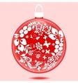 Christmas ball with ornament vector image