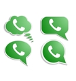 Green phone handset in speech bubble icon vector image