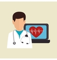 character doctor heart pulse online service vector image