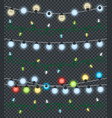 christmas garlands on transparent background vector image