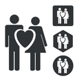 Love couple icon set monochrome vector image
