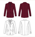burgundy colored jacket outlined template vector image vector image