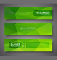 set of banners with green abstract polygonal vector image