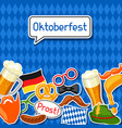 oktoberfest card with photo booth stickers design vector image