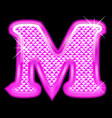M letter pink bling girly vector image