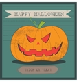 Grunge cartoon jack o lantern smiley halloween vector image