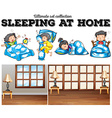 Boys and girls sleeping in bed vector image