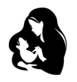 Beautiful mother silhouette with baby Liner logo vector image