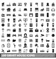 100 smart house icons set in simple style vector image
