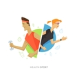 Athletic man and woman symbol vector image