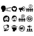 Freedom of speech human rights icons set vector image vector image