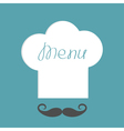 Big chef hat with word Menu inside and mustache vector image
