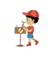Boy Establishing A Garden Sign vector image