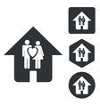Couple house icon set monochrome vector image