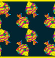 sea fish on dark blue background seamless pattern vector image