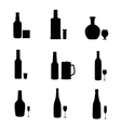silhouette alcohol bottles with glasses vector image