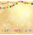 Golden Christmas card with translucent snowflakes vector image vector image