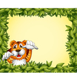 A green frame with a tiger inside vector image