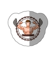 colorful sticker border with muscle man lifting a vector image