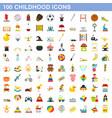 100 childhood icons set flat style vector image