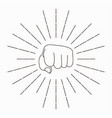 fist with sunbursts vector image