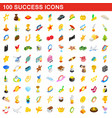 100 success icons set isometric 3d style vector image vector image