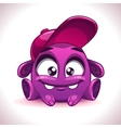 Funny cartoon purple alien monster character vector image