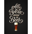 Vintage calligraphic beer design vector image