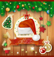 christmas background with fir and santas hat vector image