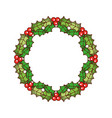 christmas wreath berries and fir leaves round vector image