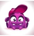 Funny cartoon purple alien monster character vector image