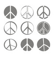 Set of monochrome icons with peace symbols vector image