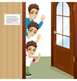three brothers peeking of the door waving vector image