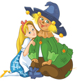 dorothy and scarecrow wizard of oz cartoon vector image