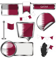 glossy icons with flag of qatar vector image